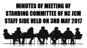 Minutes of Meeting of Standing Committee of National Council (JCM) Staff Side held on 3rd May 2017