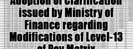 modifications of Level-13 of Pay Matrix