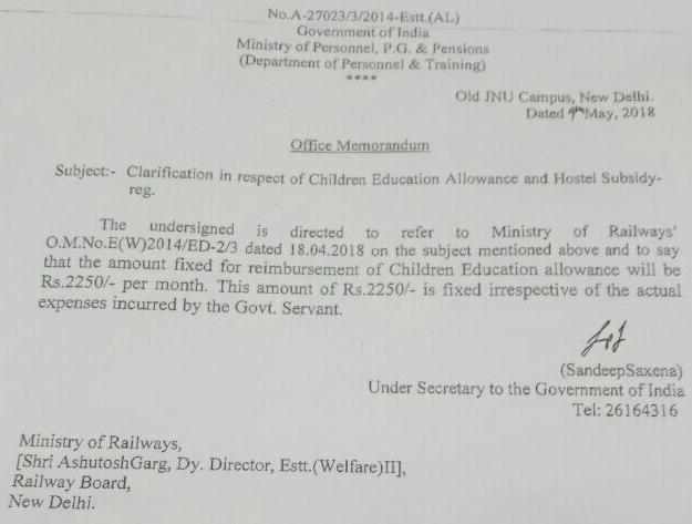 Reimbursement of Children Education Allowance will be Rs. 2250/- per month